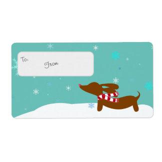 Wiener Wonderland Dachshund Gift Tag Sticky Labels