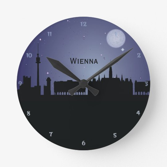 Wienna CityScape Night Silhouette Wall Clock