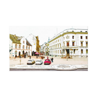 Wiesbaden, market place, Street view - Germany Canvas Print