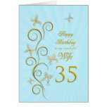 Wife 35th Birthday with golden butterflies Greeting Card