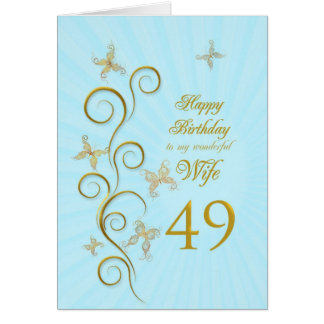Wife 49th Birthday with golden butterflies Card