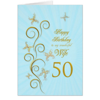 Wife 50th Birthday with golden butterflies Cards