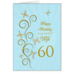 Wife 60th Birthday with golden butterflies Card