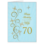 Wife 70th Birthday with golden butterflies Cards