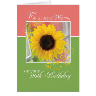 Wife, 90th Birthday, Just a Note Sunflower Card