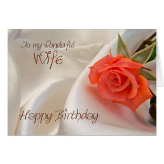 Wife, a birthday card with a pink rose