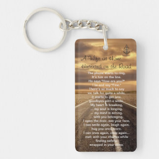 Wife at Home, Husband on Road, Poetic Keychain