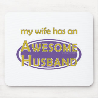 Wife Awesome Husband Purple Gold Mouse Pad