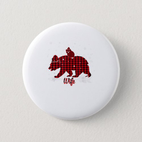 Wife Bear Santa Hat Matching Family Red Button