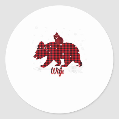 Wife Bear Santa Hat Matching Family Red Classic Round Sticker