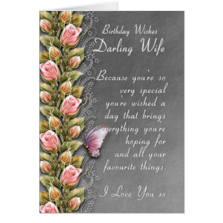 wife birthday card - birthday card with roses and