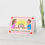 """Wife Birthday Cartoon Caricature Couple Card<br><div class=""""desc"""">This is an adorable card for a husband to give his wife on her birthday. It is a cute cartoon caricature of a couple in love holding a large birthday cake in between them with lit candles, and decorated with hearts. The husband is giving his wife the cake for her...</div>"""