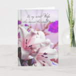 "Wife Birthday Greeting Card With Cream Pink Lilies<br><div class=""desc"">Delicate Pink Lilies greeting card</div>"