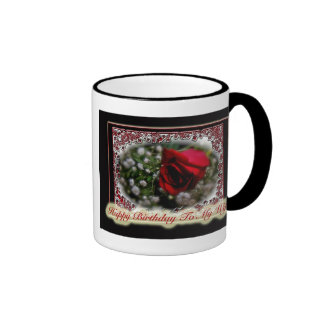 Wife Birthday Rose & Baby's Breath Ringer Coffee Mug