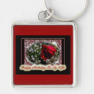 Wife Birthday Rose & Baby's Breath Silver-Colored Square Keychain