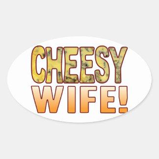 Wife Blue Cheesy Oval Sticker