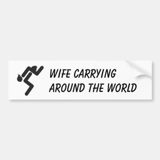 Wife Carrying Bumper Sticker Car Bumper Sticker