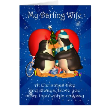 Christmas Themed Wife Christmas Card With Kissing Penguins Heart An