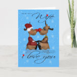 """Wife Christmas Greeting Card With Reindeer<br><div class=""""desc"""">Two loving Reindeer enjoying their moment</div>"""