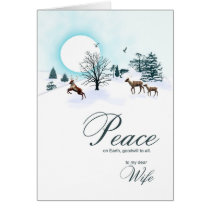 Wife, Christmas scene with reindeer Card