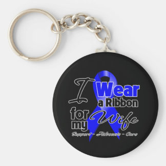 Wife - Colon Cancer Ribbon Basic Round Button Keychain