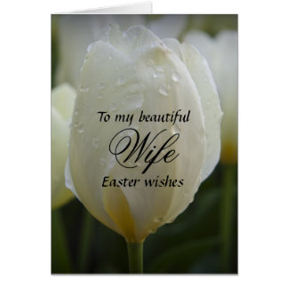 Wife / Easter Wishes - Elegant White Tulip Card