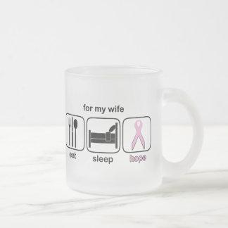 Wife Eat Sleep Hope - Breast Cancer Frosted Glass Coffee Mug