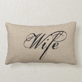 Wife faux linen burlap rustic chic jute wedding throw pillows