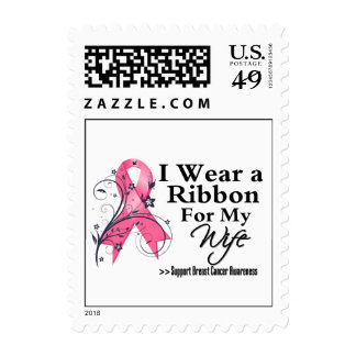 Wife Floral Ribbon - Breast Cancer Postage