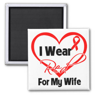 Wife - I Wear a Red Heart Ribbon 2 Inch Square Magnet