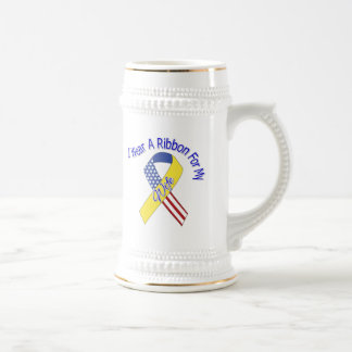 Wife - I Wear A Ribbon Military Patriotic 18 Oz Beer Stein