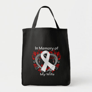 Wife In Memory Lung Cancer Heart Canvas Bag