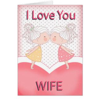 Wife, Lesbian, Cute Kissing Couple Valentine Card