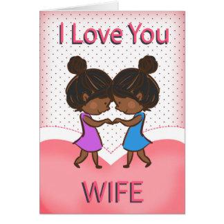 Wife, Lesbian, Cute Loving African American Couple Card