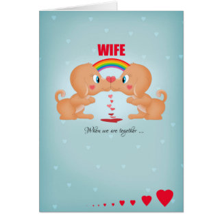 Wife Lesbian Valentine's Day Kissing Dogs And Hear Card