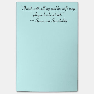 Wife May Plague His Heart Jane Austen Quote Post-it® Notes