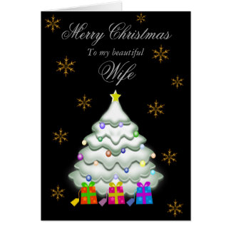Wife / Merry Christmas - Tree/Gifts/Snowflakes Card