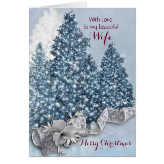 Wife / Merry Christmas - Twinkling Xmas Trees Greeting Card
