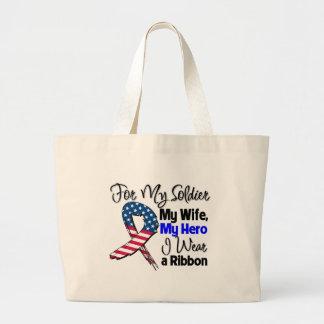 Wife - My Soldier, My Hero Patriotic Ribbon Tote Bags