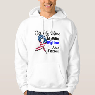 Wife - My Soldier, My Hero Patriotic Ribbon Hooded Pullover