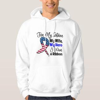 Wife - My Soldier, My Hero Patriotic Ribbon Hoodie