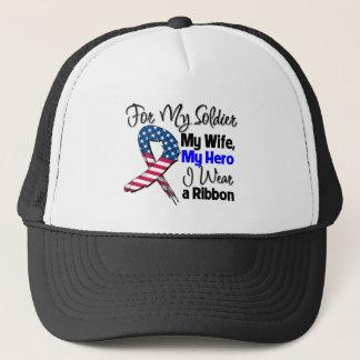 Wife - My Soldier, My Hero Patriotic Ribbon Trucker Hat
