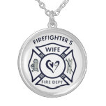 Wife of a firefighter round pendant necklace