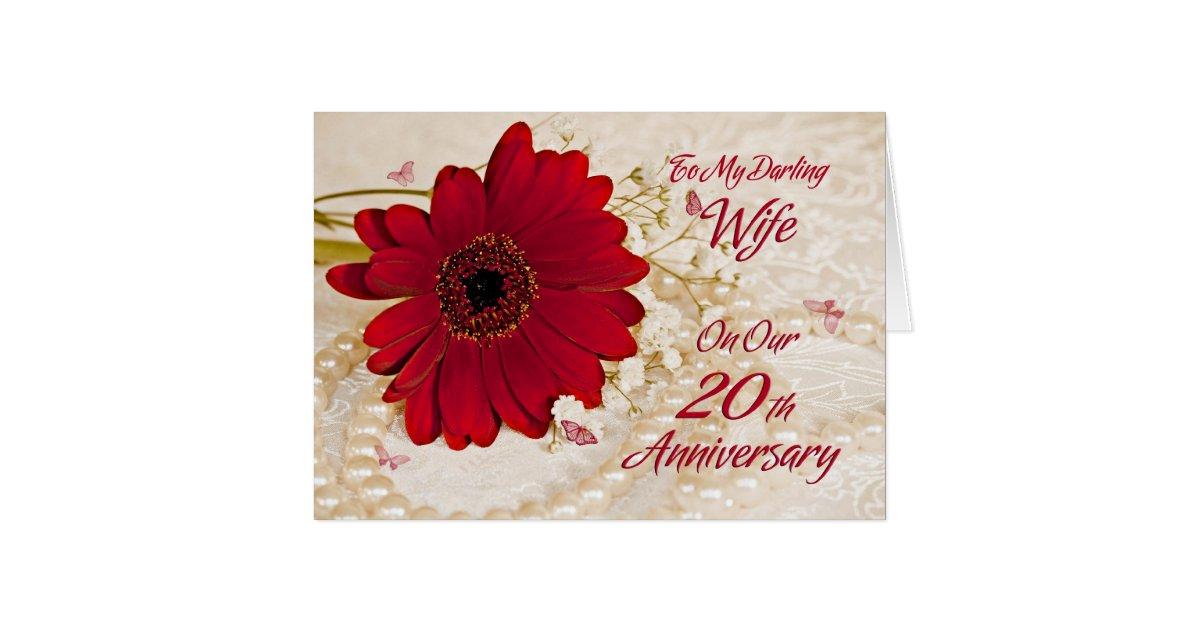 Wife On 20th Wedding Anniversary A Daisy Flower Greeting Card