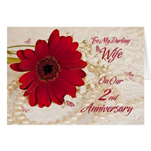 Wife on 2nd wedding anniversary, a daisy flower card Zazzle