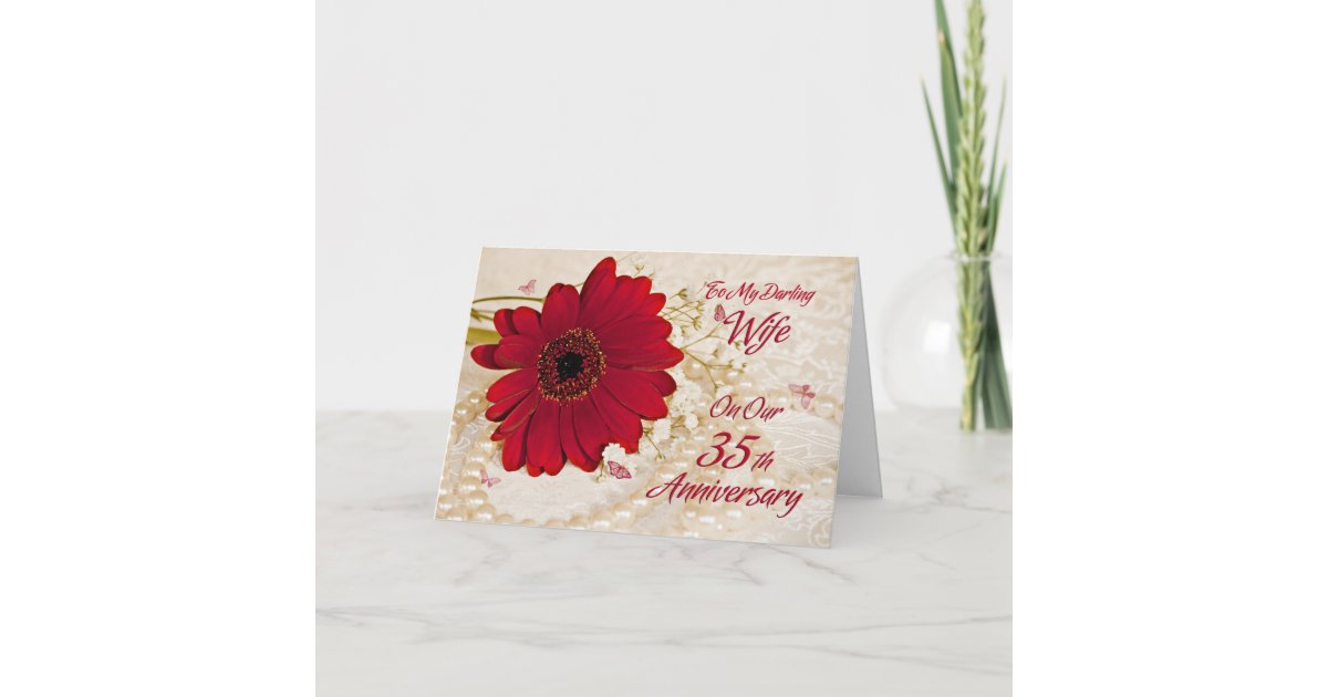 35th Wedding Anniversary Gifts For Wife: Wife On 35th Wedding Anniversary, A Daisy Flower Card