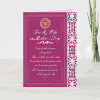 Wife on Mother's Day Proverbs 31 Card