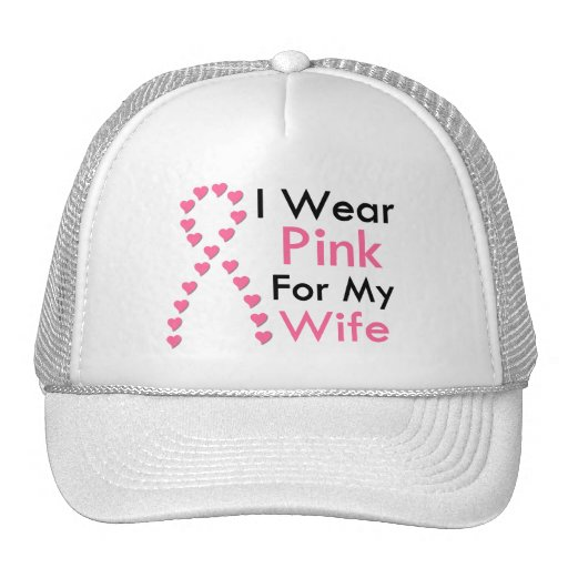 Wife Pink Ribbon Breast Cancer Trucker Hat