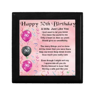 Wife Poem - 30th Birthday Jewelry Box
