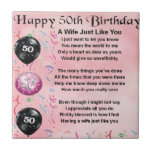 "Wife Poem - 50th Birthday Tile<br><div class=""desc"">A great gift for a wife on her 50th birthday</div>"